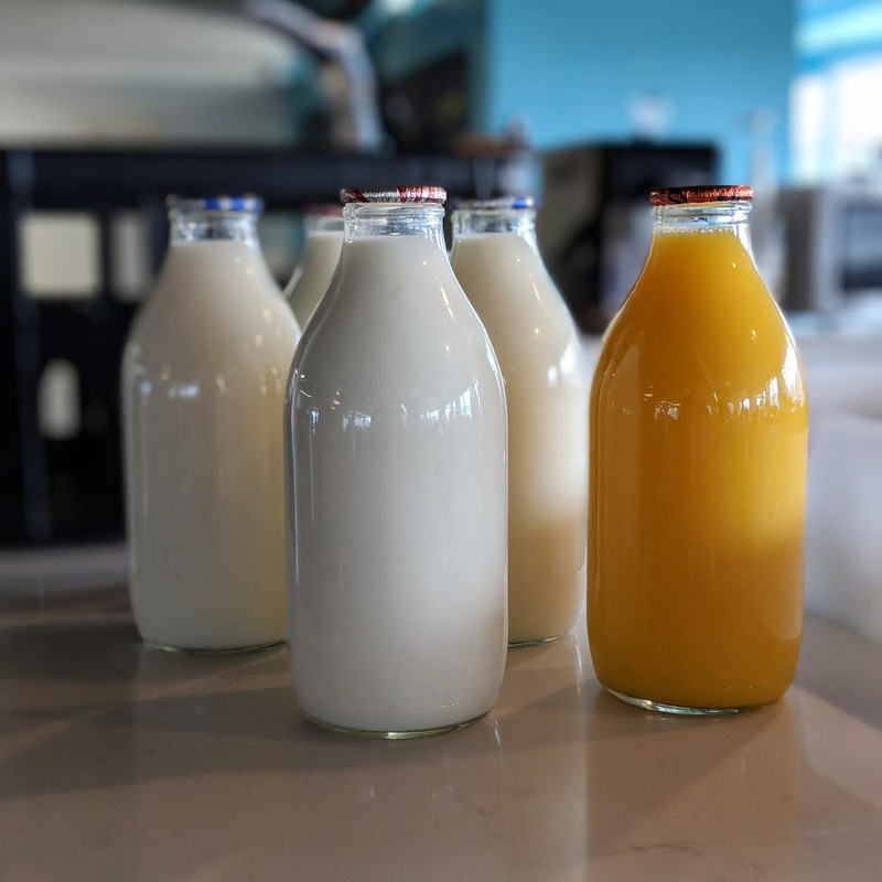 Old school milk bottles at Kyan