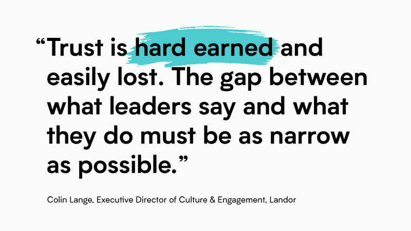 """""""Trust is hard earned and easily lost. The gap between what leaders say and what they do must be as narrow as possible."""" Colin Lange, Executive Director of Culture & Engagement, Landor"""